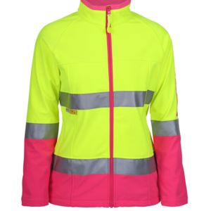 Ladies Hi Vis (D+N) Softshell Jacket with 3M Tape Thumbnail